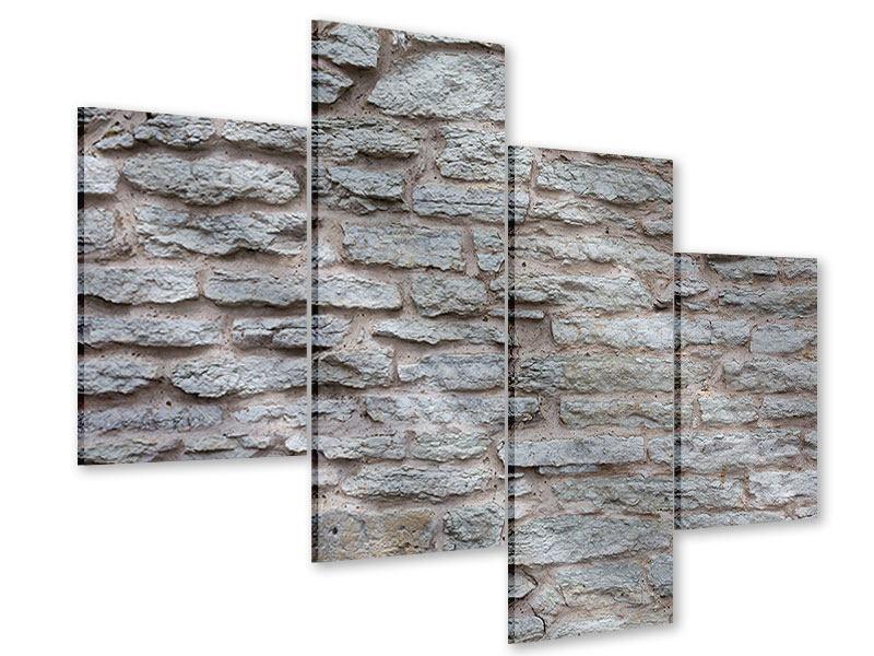 Acrylglasbild 4-teilig modern Steinmauer
