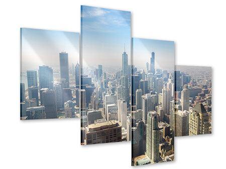 Acrylglasbild 4-teilig modern Wolkenkratzer Chicago