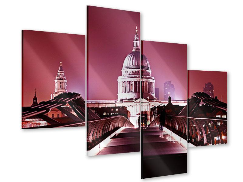 Acrylglasbild 4-teilig modern Millennium Bridge