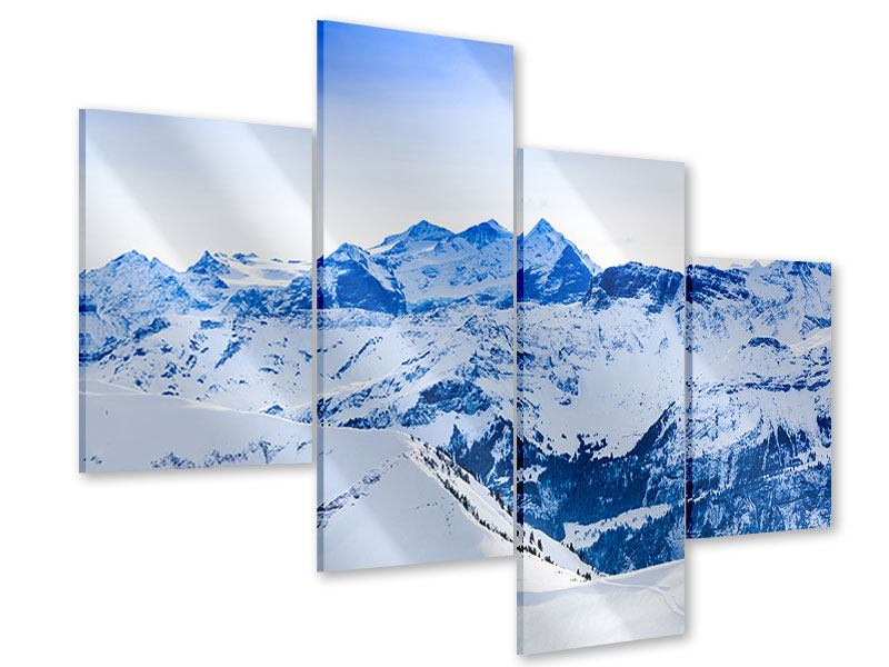 Acrylglasbild 4-teilig modern Die Schweizer Alpen