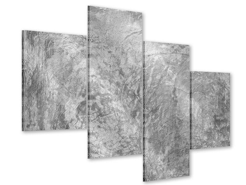 Acrylglasbild 4-teilig modern Wischtechnik in Grau