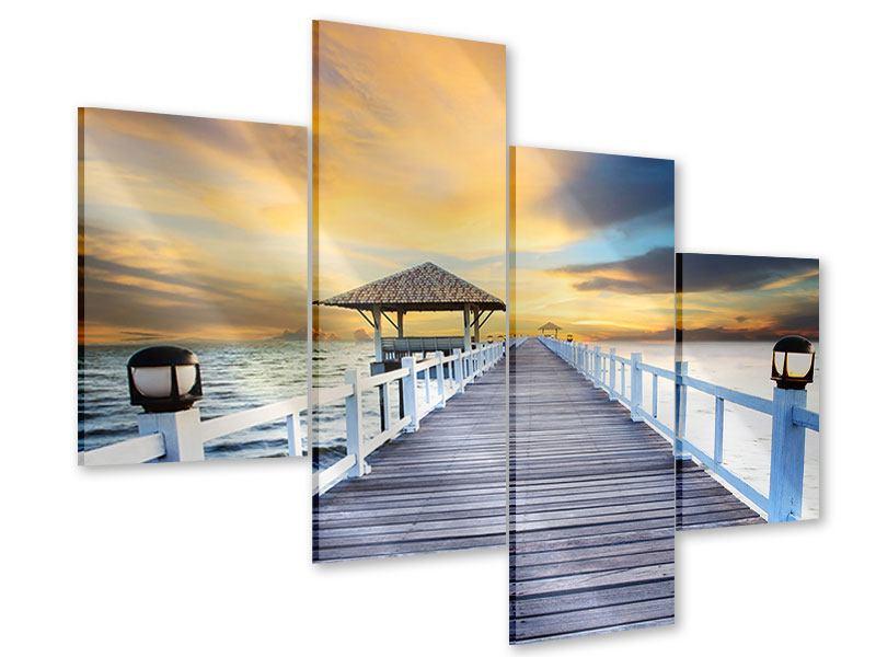 Acrylglasbild 4-teilig modern Die Brücke ins Meer