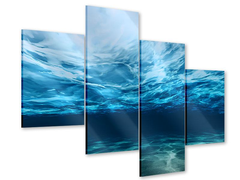 Acrylglasbild 4-teilig modern Lichtspiegelungen unter Wasser