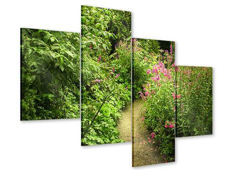 Acrylglasbild 4-teilig modern Gartenweg