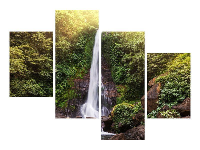 Acrylglasbild 4-teilig modern Wasserfall Bali