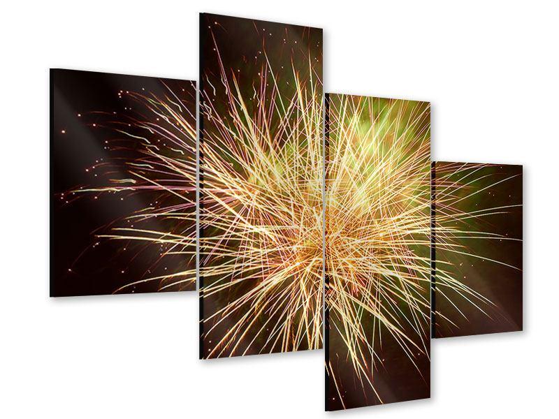 Acrylglasbild 4-teilig modern Feuerwerk XXL
