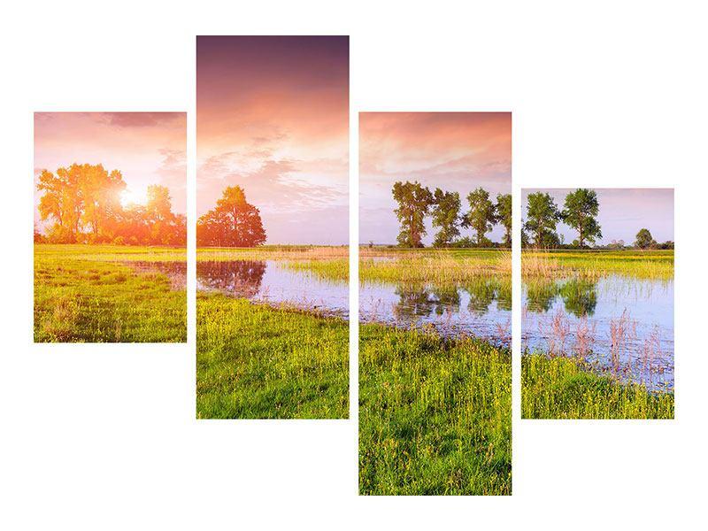 Acrylglasbild 4-teilig modern Sonnenuntergang am See
