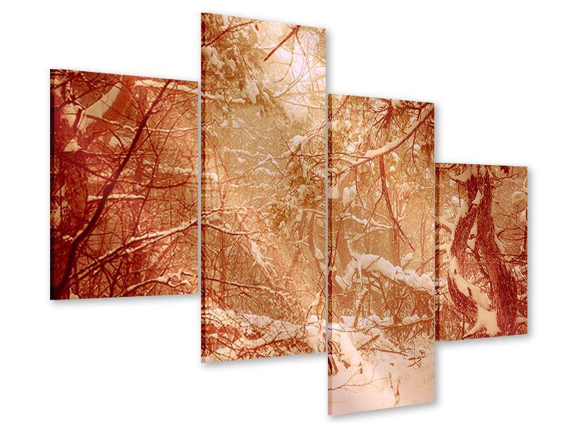Acrylglasbild 4-teilig modern Schneewald