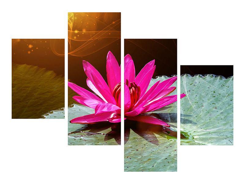 Acrylglasbild 4-teilig modern Der Frosch und das Seerosenblatt
