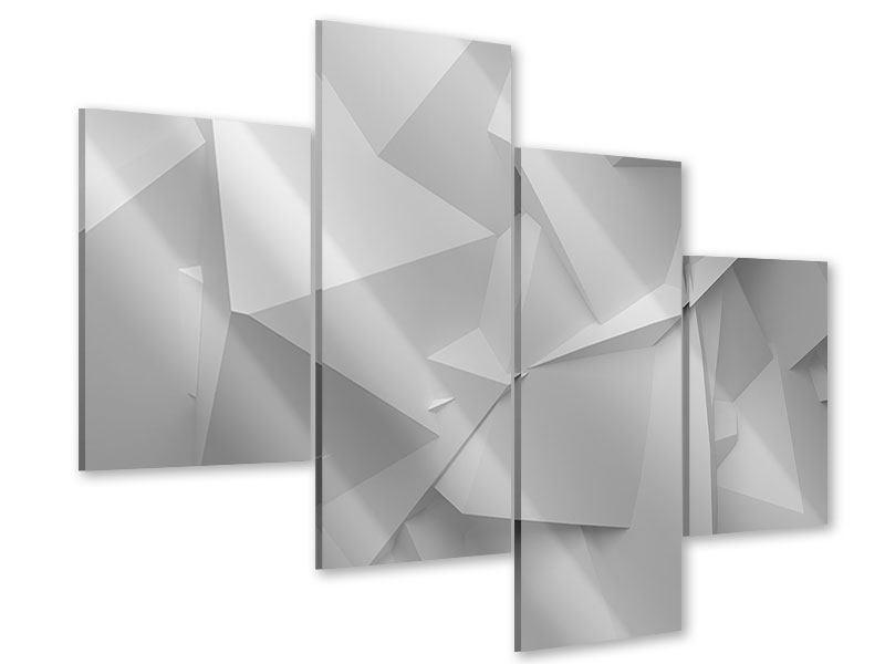 Acrylglasbild 4-teilig modern 3D-Raster