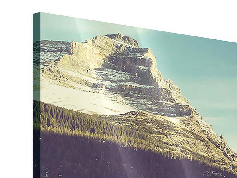 Acrylglasbild 4-teilig modern Spiegelung im Bergsee