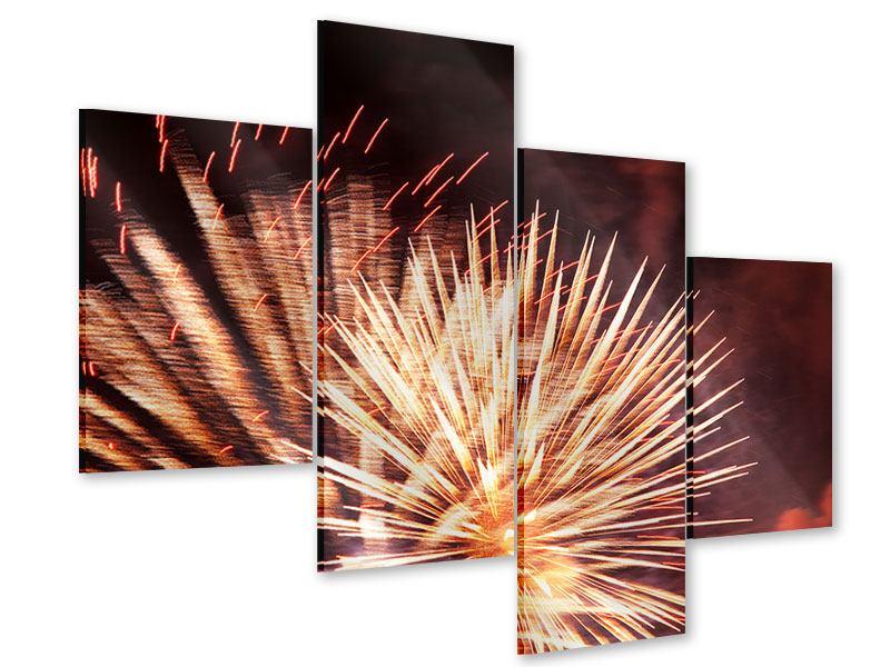 Acrylglasbild 4-teilig modern Close Up Feuerwerk
