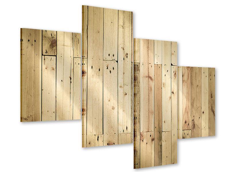 Acrylglasbild 4-teilig modern Holzpaneelen