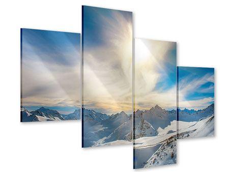 Acrylglasbild 4-teilig modern Über den verschneiten Gipfeln