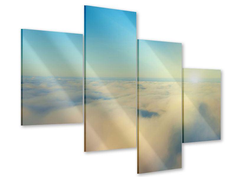 Acrylglasbild 4-teilig modern Dämmerung über den Wolken