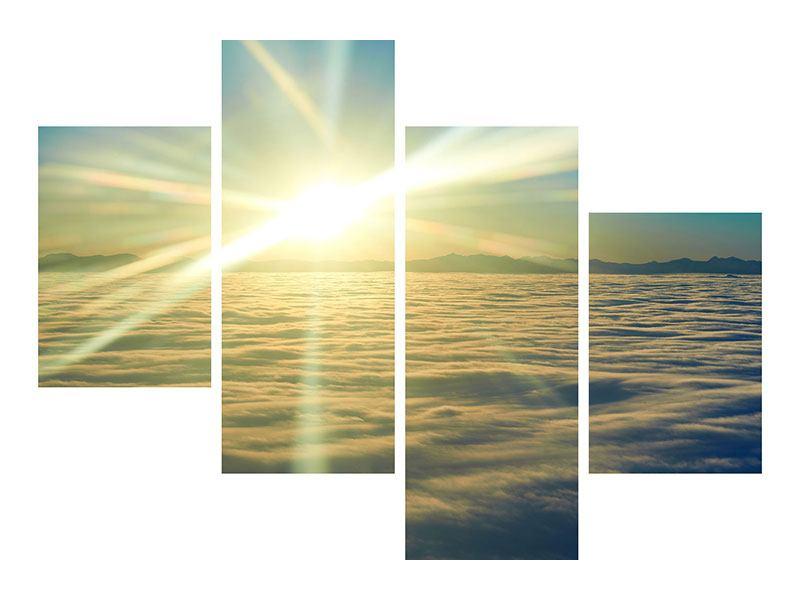 Acrylglasbild 4-teilig modern Sonnenaufgang über den Wolken