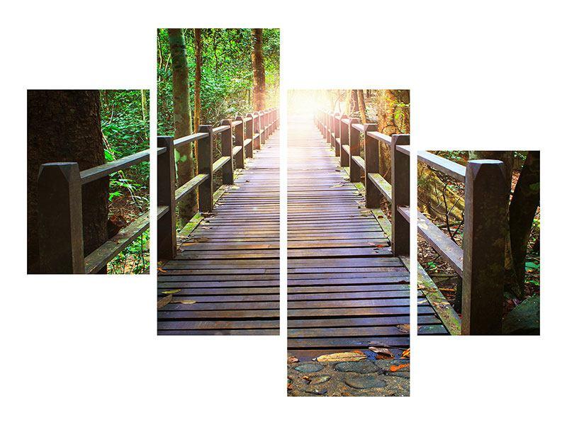 Acrylglasbild 4-teilig modern Die Brücke im Wald