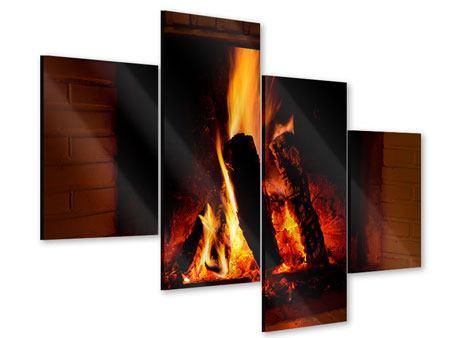 Acrylglasbild 4-teilig modern Feuer im Kamin