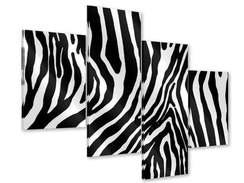 Acrylglasbild 4-teilig modern Zebramuster