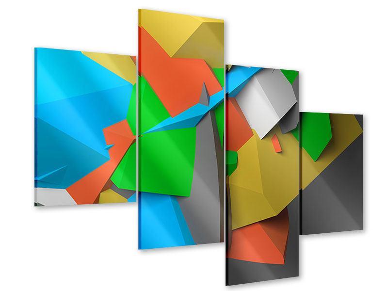 Acrylglasbild 4-teilig modern 3D-Geometrische Figuren