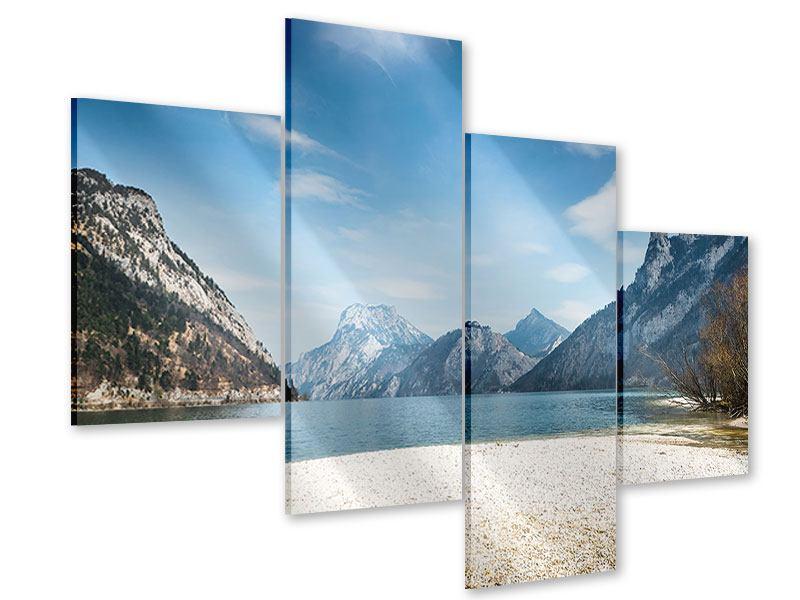Acrylglasbild 4-teilig modern Der idyllische Bergsee