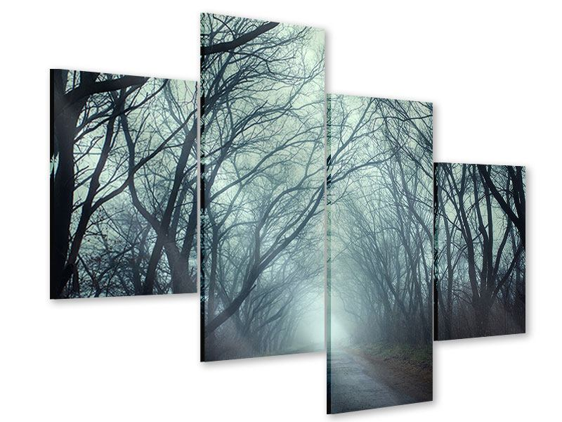 Acrylglasbild 4-teilig modern Nebelwald