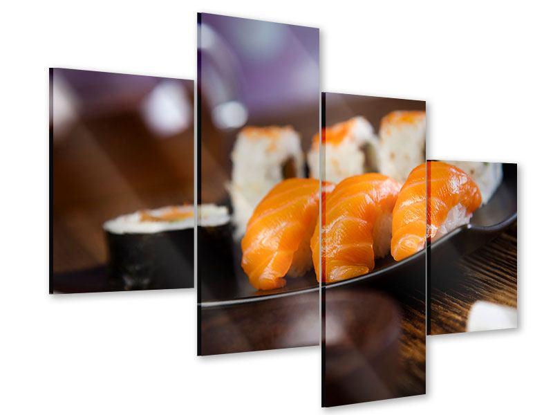 Acrylglasbild 4-teilig modern Sushi-Gericht
