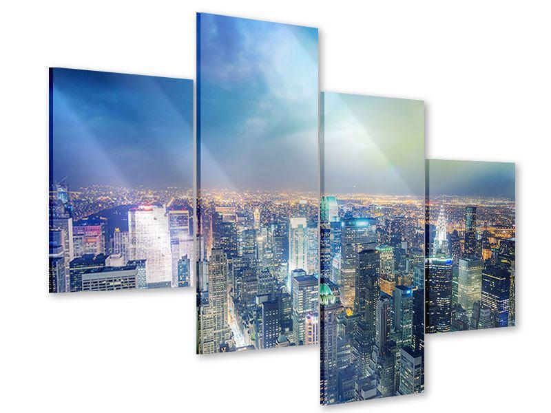 Acrylglasbild 4-teilig modern Skyline NY bei Sonnenuntergang