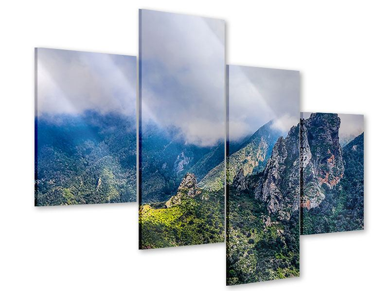 Acrylglasbild 4-teilig modern Der stille Berg