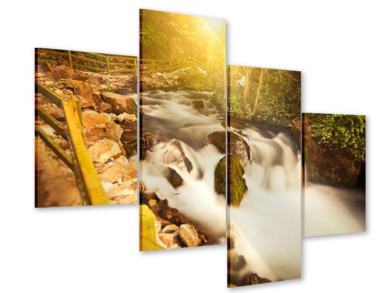 Acrylglasbild 4-teilig modern Sonnenuntergang am Wasserfall