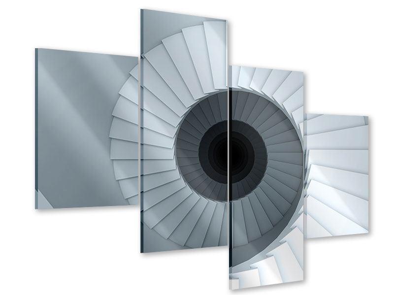 Acrylglasbild 4-teilig modern 3D Wendeltreppe