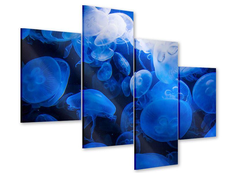 Acrylglasbild 4-teilig modern Quallen