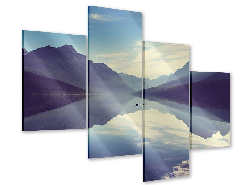 Acrylglasbild 4-teilig modern Bergspiegelung