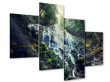Acrylglasbild 4-teilig modern Feng Shui & Wasserfall