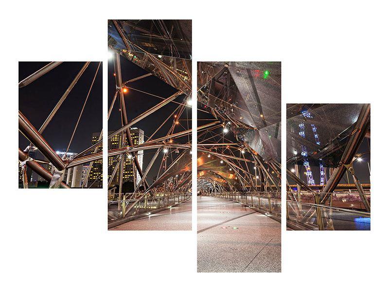 Acrylglasbild 4-teilig modern Brückenlichter