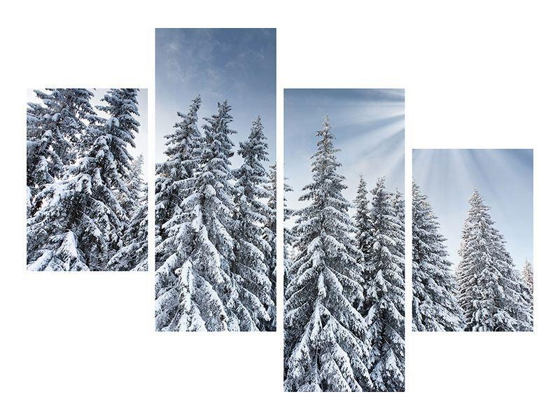 Acrylglasbild 4-teilig modern Wintertannen