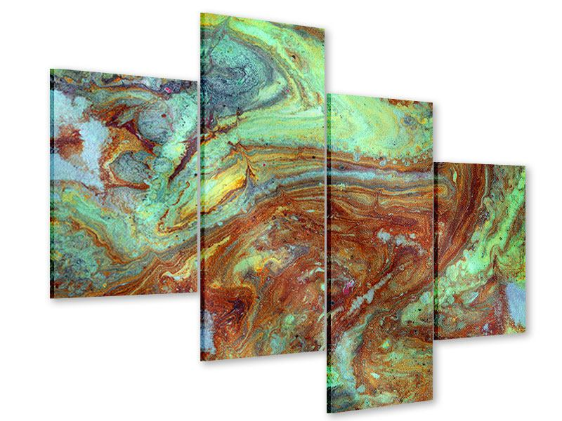 Acrylglasbild 4-teilig modern Marmor in Grün
