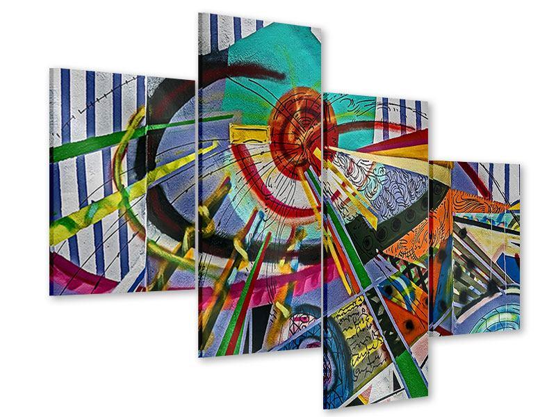 Acrylglasbild 4-teilig modern Künstlerisches Graffiti