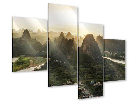 Acrylglasbild 4-teilig modern Die Berge von Xingping