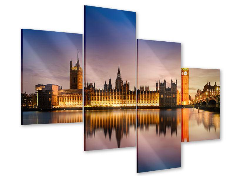 Acrylglasbild 4-teilig modern Big Ben in der Nacht