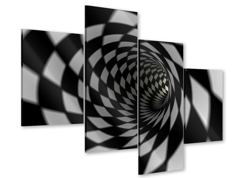 Acrylglasbild 4-teilig modern Abstrakter Tunnel Black & White