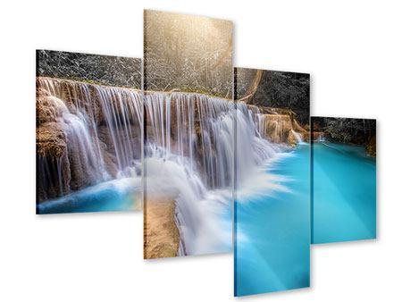 Acrylglasbild 4-teilig modern Glücklicher Wasserfall