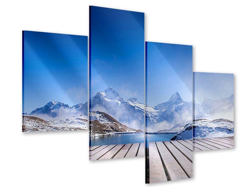 Acrylglasbild 4-teilig modern Sonnenterrasse am Schweizer Bergsee