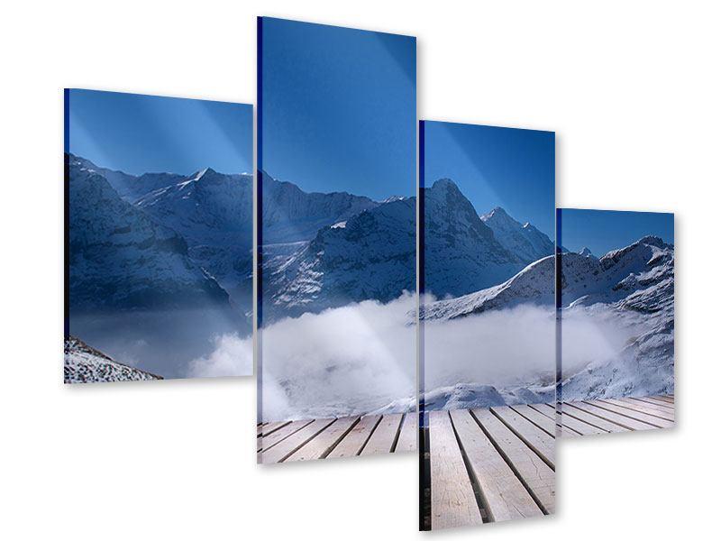 Acrylglasbild 4-teilig modern Sonnenterrasse in den Schweizer Alpen