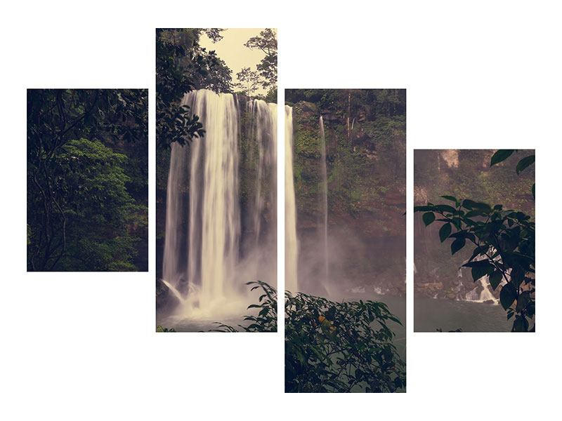 Acrylglasbild 4-teilig modern Wasserfall in Mexiko