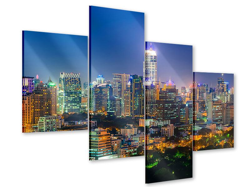 Acrylglasbild 4-teilig modern Skyline One Night in Bangkok