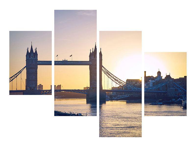 Acrylglasbild 4-teilig modern Tower Bridge bei Sonnenuntergang