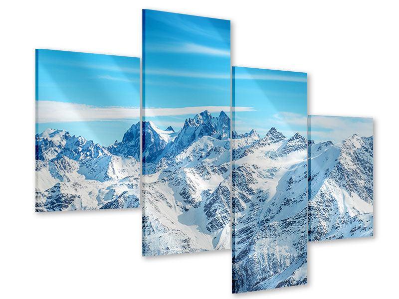 Acrylglasbild 4-teilig modern Alpenpanorama