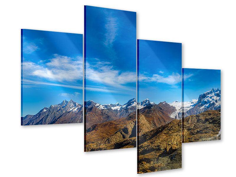 Acrylglasbild 4-teilig modern Schweizer Alpen im Frühling