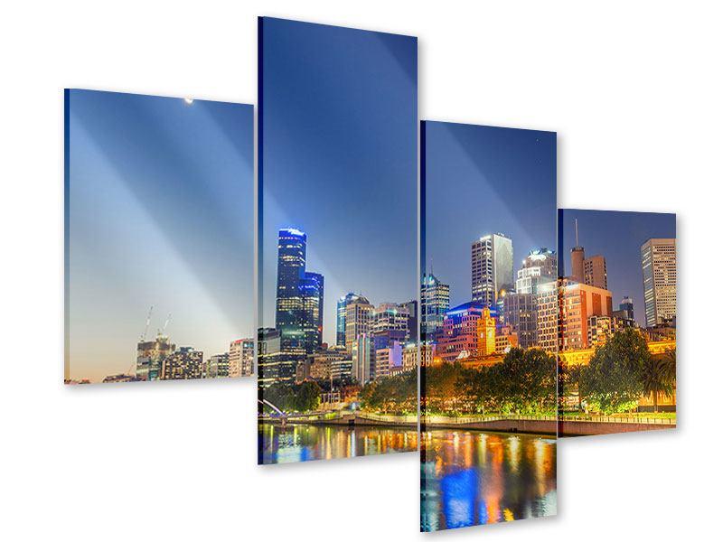 Acrylglasbild 4-teilig modern Skyline Sydney in der Abenddämmerung